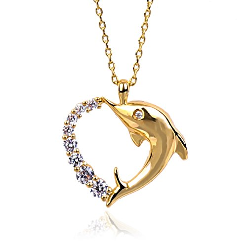 NickAngelo's Dolphin Love Heart Pendant Necklace 18K Gold Plated Elegant Fashion Jewelry For Women Divine Infinite Love And Friendship (gold-plated-copper, cubic-zirconia) (Fashion 16' Zirconia Necklace Cubic)