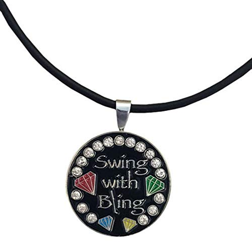 Giggle Golf Bling Swing with Bling 3 Magnetic Golf Ball Marker Necklace for (Diva Round Necklace)