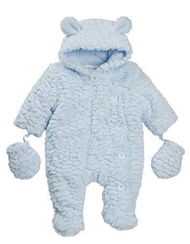bébés Combinaison de Neige Combinaison en Landau Plume Sensation doublé Rose Crème Bleu Détachable Mitaines 6-9 mois