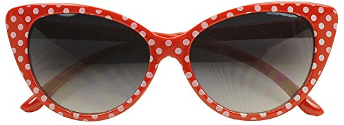 Sunglass Stop - Super Cute Womens Red Vintage Polka Dot Sunglasses (Red, Gradient - Knockoff Sunglasses