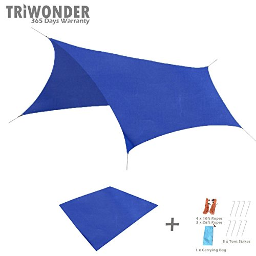 Triwonder Outdoor Waterproof Camping Shelter Footprint Groundsheet Beach Picnic Blanket Mat (Dark Blue, L+Accessories)