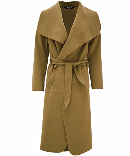 Hina moda mujer Italiano Cascada con cinturón mangas largas abrigo chaqueta camiseta marrón claro