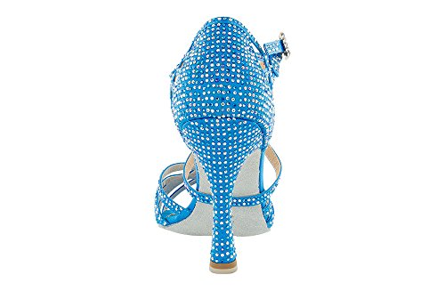 Scarpa da ballo Limited Edition , in raso Celeste , con listini incrociati, 5 fasce, tacco 10 cm