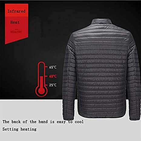 Storerine Chauffant USB V/êtements Batterie pour Veste Chauffante Homme Hiver Coton Manteau Abdominal Retour Chauffage /Électrique Chaud vers Le Bas Jacket S-4XL