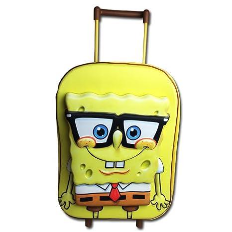 Bob esponja de EVA carretilla 3D niños equipaje mochila maleta cabina: Amazon.es: Hogar