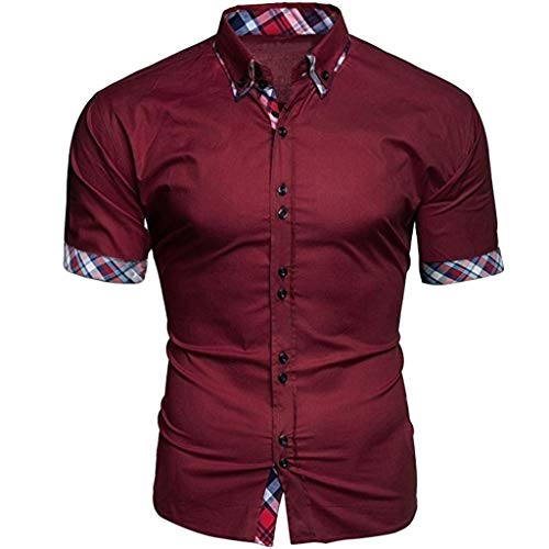 Fashion Plaid Short Sleeve Shirt Men's Business Patchwork Button Casual Top (Pique Stripe Bar Polo)
