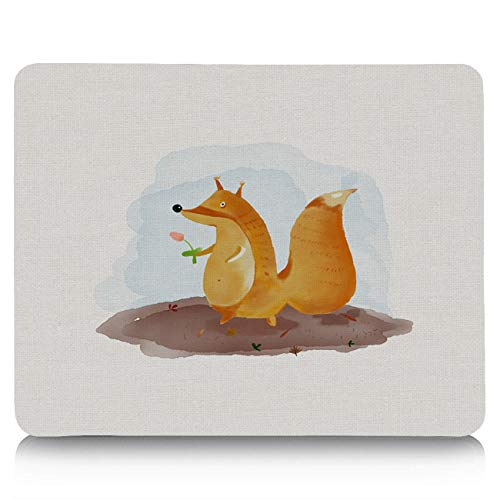 Animal Mouse Pad Standard Size Rectangle Non-Slip Rubber Mousepad for Office and Home 10x9 inches Cute Little Fox and His Flower Kids Nursery Friends Baby Theme