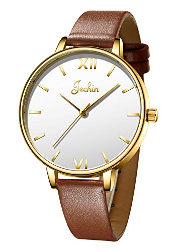 Jechin Beautiful Valentine's Day Gift Women's Leather Strap Luxury Watch Casual Easy Reader Quartz Analog Watches for Ladies (Gold) Analog Casual Easy Reader Watch