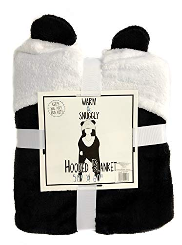 (Warm & Snuggly Hooded Panda Blanket Super Soft Fleece Luxury Blanket Black White Throw Lightweight Cozy Plush Microfiber)