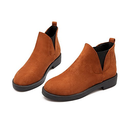 Brown AgooLar Solid Toe Imitated on Low Round Suede Closed Women's Boots Heels Pull wSw7CTq