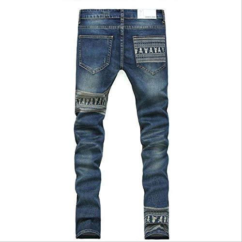 Vintage In Slim Jeans Elasticizzati Da Pantaloni Teschi Uomo Casual Stile Denim Con Fit Skinny Blau Stampa Semplice 6nr6W4cT