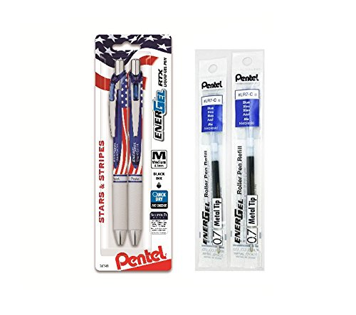 Pentel EnerGel Deluxe RTX Retractable Liquid Gel Pen, Stars & Stripes Barrel, 0.7mm, Metal Tip, Black Ink, 2 Pack Bundled with Pentel LR7 Refills (Blue Ink 2 Pack) … from Pentel