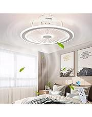 Plafondventilator met verlichting, met afstandsbediening, dimbaar, dimbaar, windsnelheid, moderne led 40 W, plafondlamp, stille ventilator, hanglamp voor slaapkamer, woonkamer, kantoor, lamp (wit)