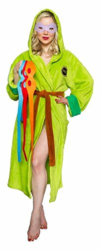 Teenage Mutant Ninja Turtles Hooded Bathrobe with Interchangable Masks (Teenage Mutant Ninja Turtle Raphael Adult Mask)