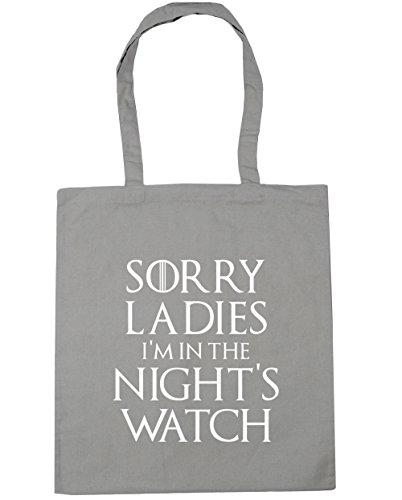HippoWarehouse Sorry ladies I 'm en la noche reloj de bolsa de la compra bolsa de playa 42cm x38cm, 10litros gris claro