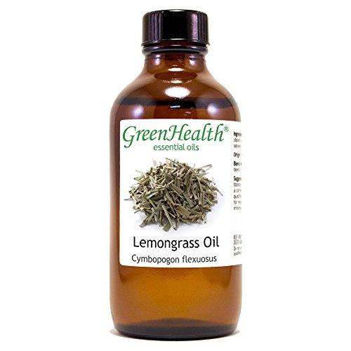 Greenhealth Lemongrass – 4 fl oz (118 ml) Glass Bottle w/Cap – 100% Pure Essential Oil