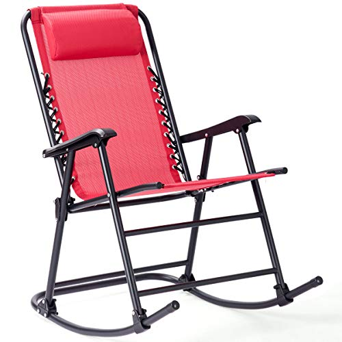 Goplus Folding Rocking Chair Recliner w/Headrest Patio Pool Yard Outdoor Portable Zero Gravity Chair for Camping Fishing Beach - Sports Rocking Chair Rocker