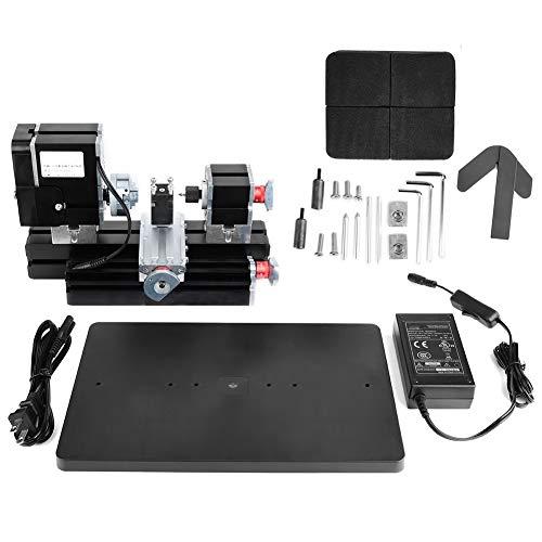 Mini Lathe,Lathe Tool Kit,Lathe with Powerful Motor 12000Rpm,Hss Turning Tool, Belt Protection Cover,60W Power Metal Machine