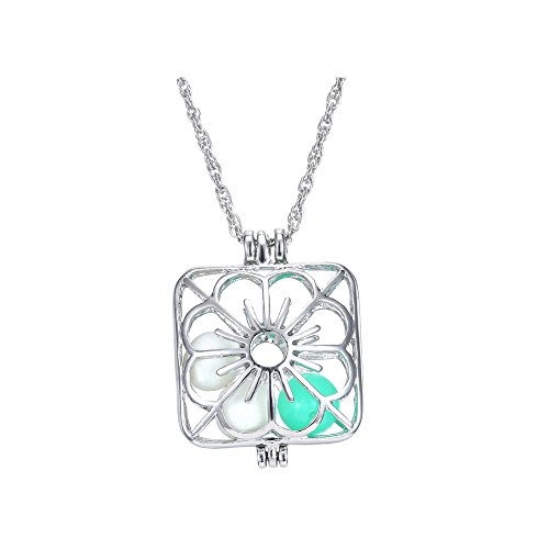 Price comparison product image Winter's Secret Alloy Hollow out Roses Luminous Pendant Glow Creative Personality Necklace