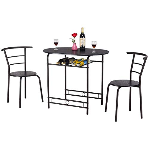 (Casart 3 PCS Dining Table and 2 Chairs Set Home Kitchen Breakfast Pub Dining Furniture Set)