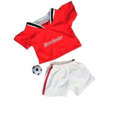 "Manchester Soccer w/Ball Uniform Teddy Bear Clothes Fits Most 14""-18"" Build-A-Bear and Make Your Own Stuffed Animals: Toys & Games"