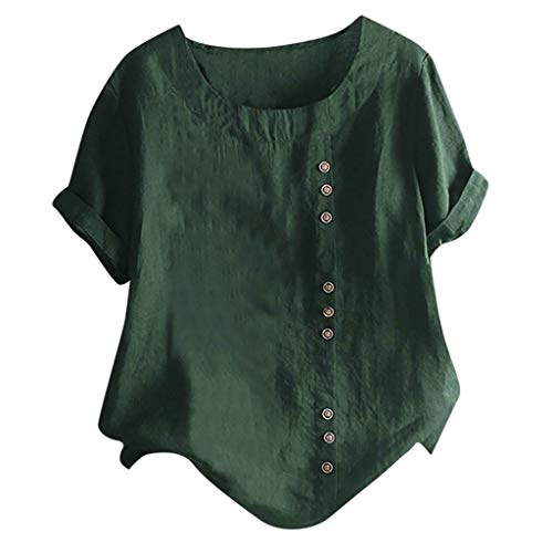 Cotton Linen Shirts for Women,SMALLE◕‿◕ Rolled Sleeves Casual Loose Tunic Tops T Shirt Blouse Linen Tops with Button