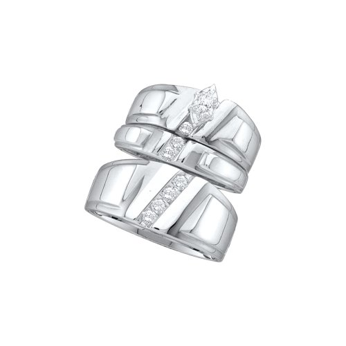 Sizes - L = 4.5, M = 7.5 - 10k White Gold Diamond Marquise Center Mens And Ladies Couple His & Hers Trio 3 Three Ring Bridal Matching Engagement Wedding Ring Band Set (1/4 cttw.) - Please use drop down menu to select your desired ring sizes by Sonia Jewels