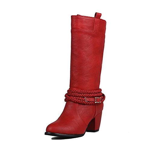 AgooLar Damen Mittler Absatz Weiches Material Mitte-Spitze Rein Ziehen auf Stiefel Rot