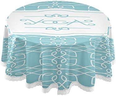 テーブルクロス 食卓カバー 花 ヨガ 飾り 青 上品 テーブルマット 円形 北欧 撥水加工 汚れ防止 家庭用 高密度 おしゃれ ポリエステル素材 直径150cm