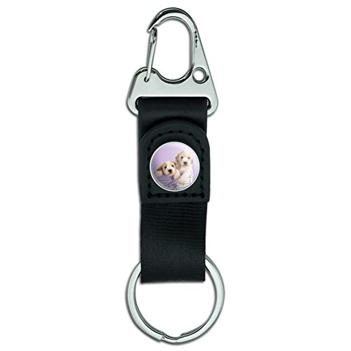 Spoodle Cockapoo Puppies Dogs Wicker Basket Belt Clip-On Carabiner Leather Fabric Keychain Key Ring ()