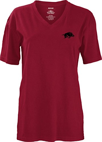 Three Square by Royce Apparel NCAA Arkansas Razorbacks Mascot Aztec Short Sleeve V-Neck T-Shirt, X-Large, (Arkansas Square)