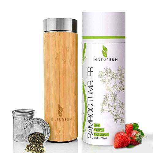 Natureum Bamboo tumbler Fruit & Tea Infuser Water Bottle with Strainer | 17oz leak Proof & BPA Free | Insulated tumbler Travel mug for Hot & Cold drinks | Stainless Steel Tumbler with Lid