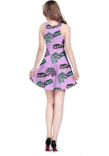 Womens Sleeveless CowCow Dino Tyrannosaurus Dinosaur Jurassic Dress Fossil Hello Violet 5XL XS aRRwqFdTW