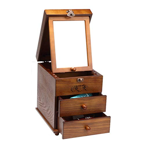 Tmpty Retro Wooden Jewelry Storage Box Women(3 Layer), with Lid, Makeup Mirror, for Bathroom, Bedroom, Storing Earrings, Necklaces, 32.5×28×20cm