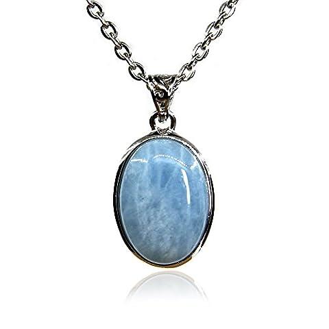 Amandastone Gemstone 20MM Natural Aquamarine Oval Charm Pendant Necklace 18