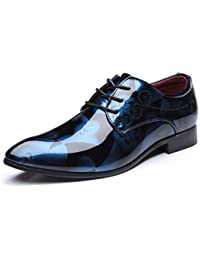 Mens Leather Wedding Dress Shoes Pointed Toe Bright Lace Up Business Oxfords