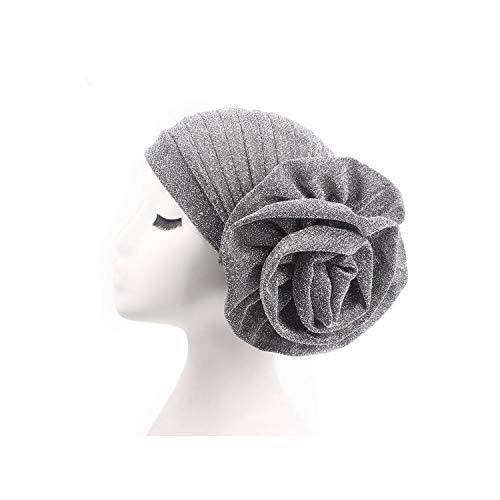 Bright Silk Turban Muslim India Hat Cap Big Flowers Women Hair Accessories,sier,Size fits all
