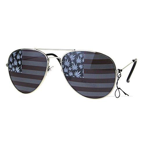 Mens Marijuana USA Flag Print Lens Stoner Metal Rim Pilots Sunglasses Two Side - Gangster Sunglasses American