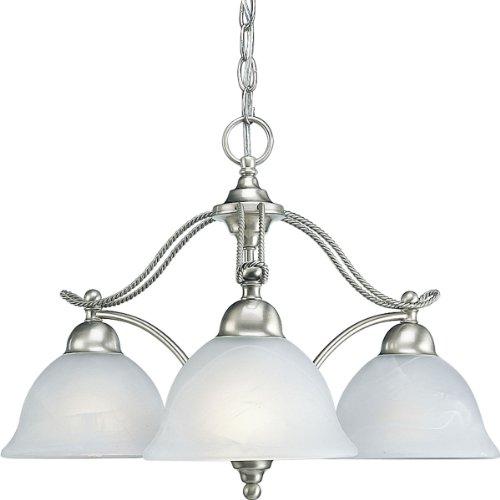 9 Light Chandelier Alabaster Glass (Progress Lighting P4070-09 3-Light Chandelier with Swirled Alabaster Glass, Brushed Nickel)