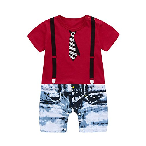 Hatoys Toddler Baby Boys Tie Overalls Jeans Romper Jumpsuit (24M, Red)