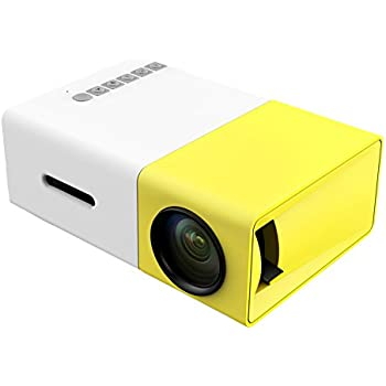 COOQI Mini Portable Pocket Projector Home Theater Support 1080p White/Yellow
