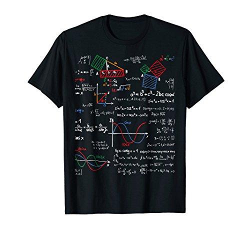Math T-Shirt Teacher Formulas Cheat Sheet Cool Geek Nerd Tee