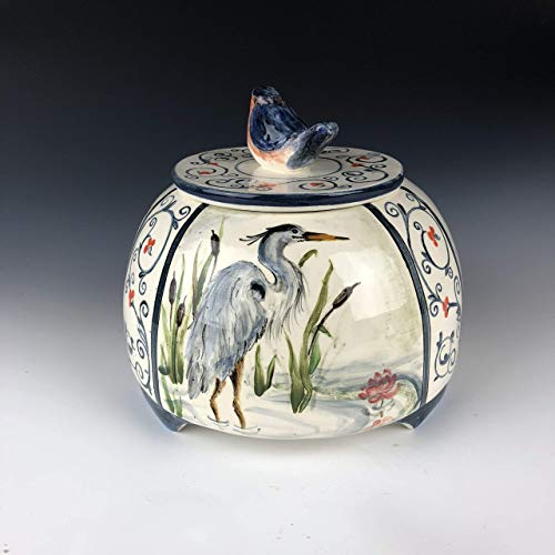 (Birds heron gold finch northern flicker bluebird keepsake jar with lid)