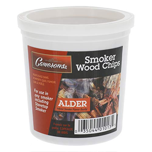 Camerons Smoking Chips- (Alder) Kiln Dried, 100 Percent Natural Extra Fine Wood Smoker Sawdust Shavings - 1 Pint Barbecue Chips