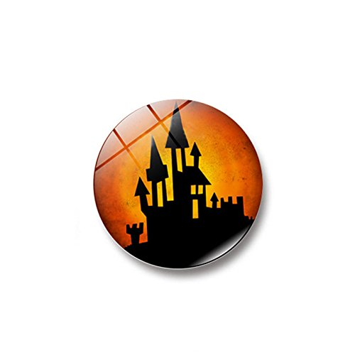 OTTATAT Wall Stickers For Bathrooms 2019,Witch Pumpkin Bat Glass Glue Sign Pattern Dome Glass Fridge Magnet Easy to peel Valentine's Day Holiday Gift for bride Under 5 dollars]()