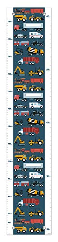Kid Room Decor Firetruck Police Car Truck and Train Growth Chart for Kids Measurement Growth Chart -