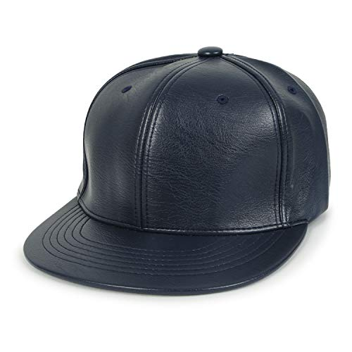 ililily Color Blank Faux Leather Trucker Hat Snapback Flat Brim Baseball Cap, Navy