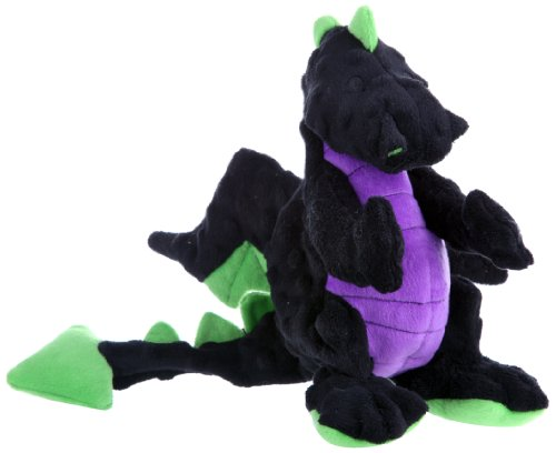 goDog Dragon With Chew Guard Technology Tough Plush Dog Toy, Black, Large (Black Plush Dog Toy)