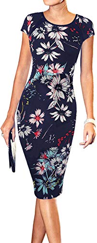 LunaJany Women's Floral Print Sexy Wear to Work Office Career Sheath Midi Dress M navy0604 (Eye Catching Stretch Knit)