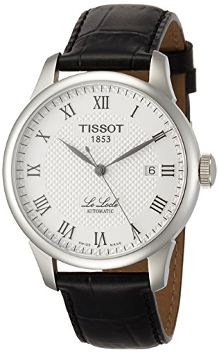 Tissot Men's 'Le Locle' Swiss Automatic Stainless Steel and Leather Dress Watch, Color:Black (Model: TIST41142333)